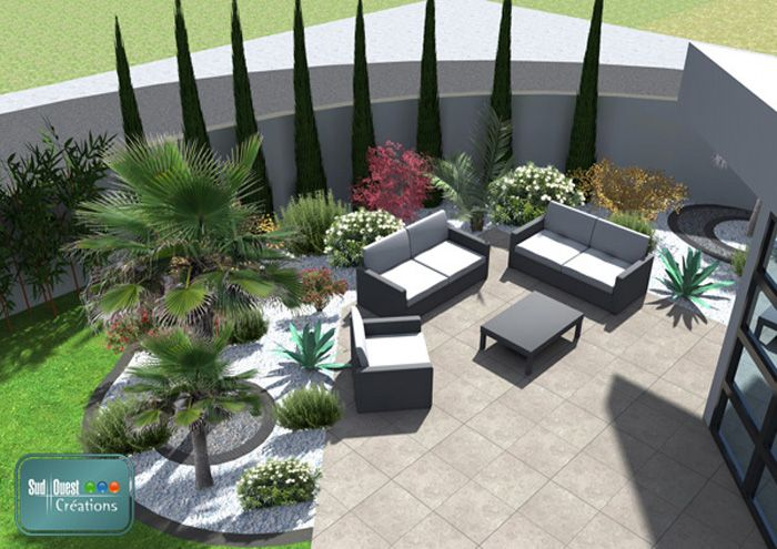 Plan 3d terrasse en dalles contemporaines avec for Amenagement jardin 3d