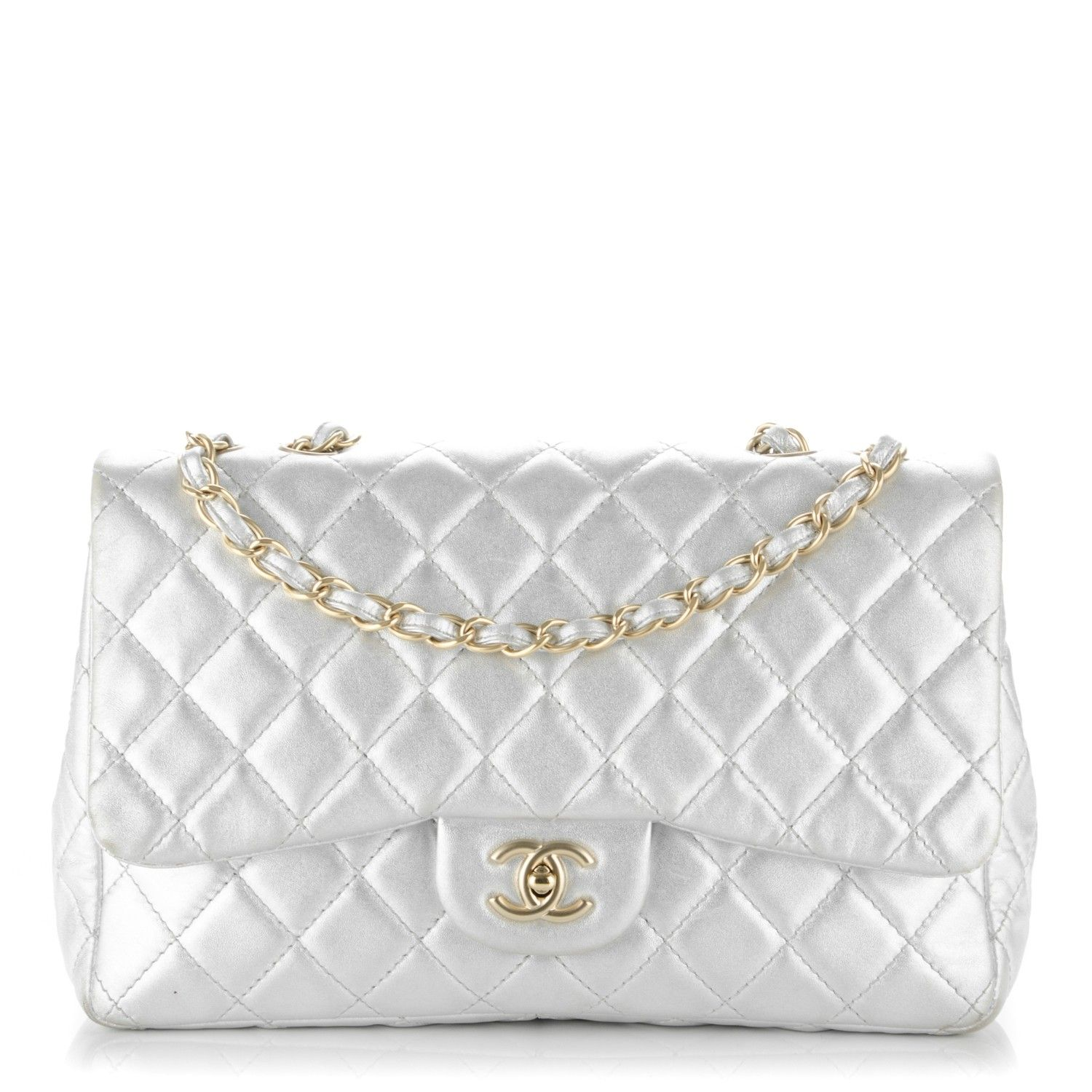 b2006aff176d This is an authentic CHANEL Lambskin Quilted Jumbo Single Flap in Metallic  Silver. This stylish