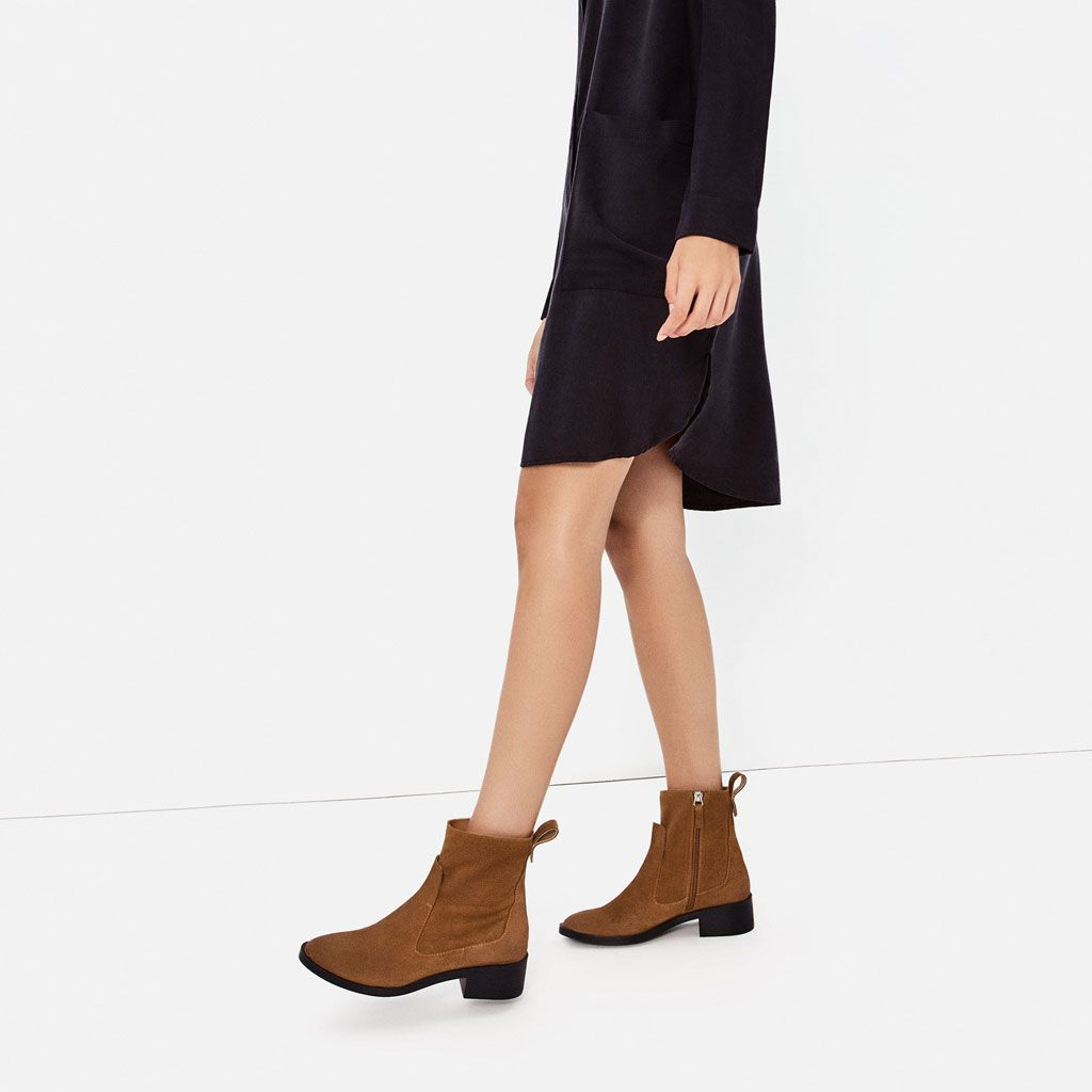 Femme Plates En R1rx0f France Bottines Cuir Chaussures Zara qvER6