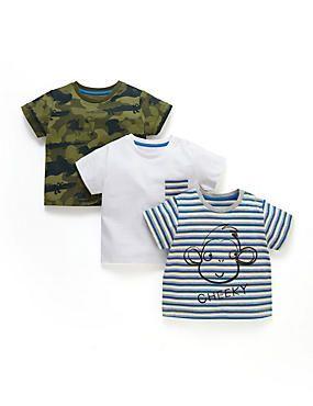Blue Mix 3 Pack Cotton Rich Assorted T-Shirts