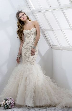 maggie sottero strapless mermaid gown in beaded embroidery