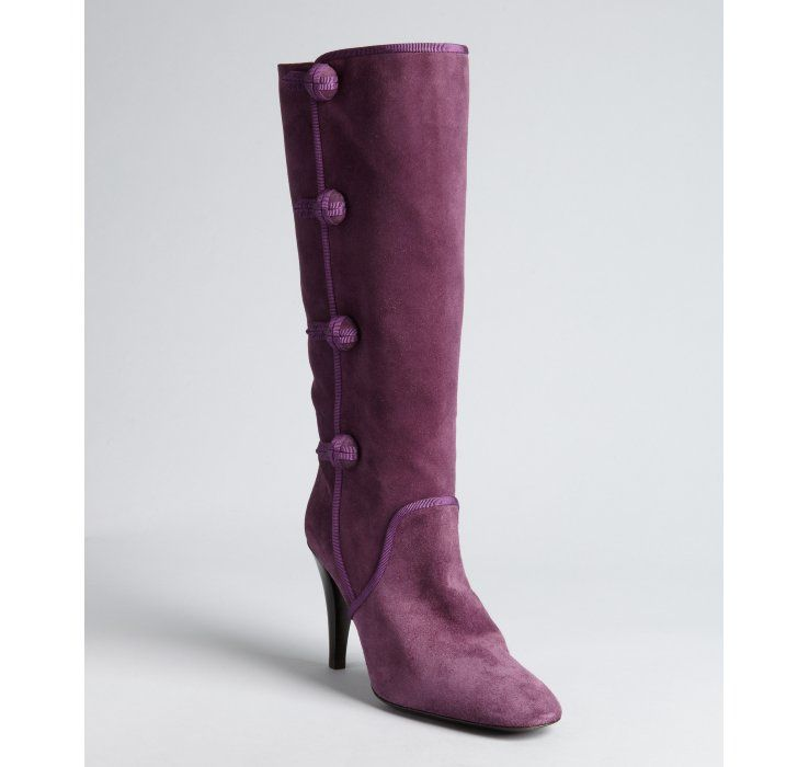 Celine purple suede button detail stacked heel boots