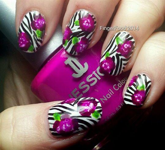 Zebra Roses - Nail Art Gallery
