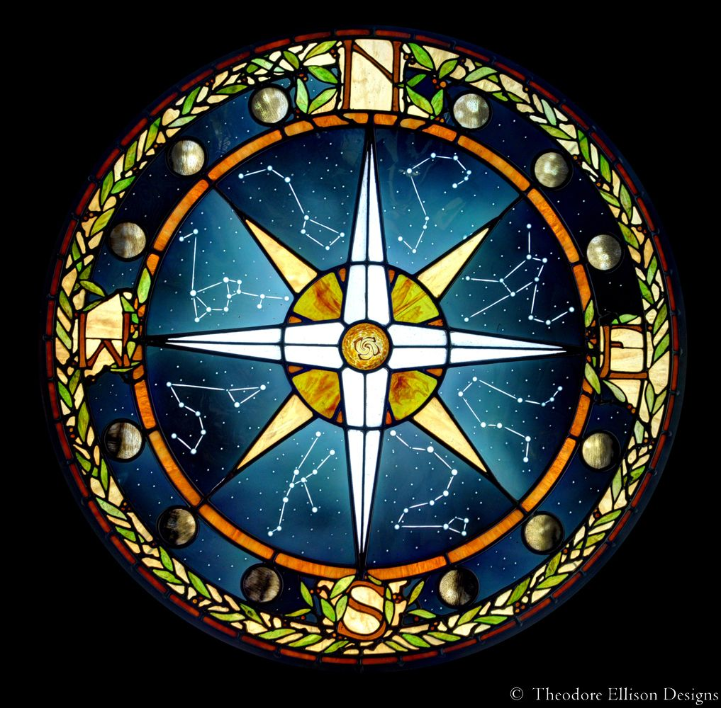 Glass Compass Rose Patterns : Stained glass compass window by theodore ellison designs