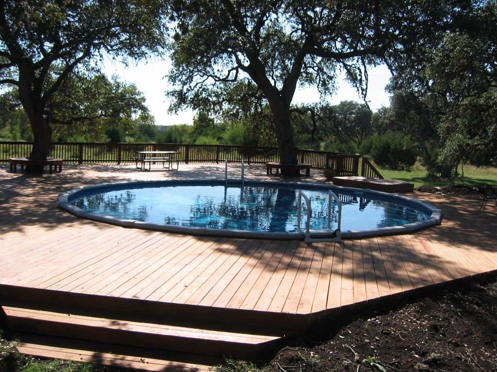 Round above ground pool decks find above ground pools in - Swimming pools with decks above ground ...
