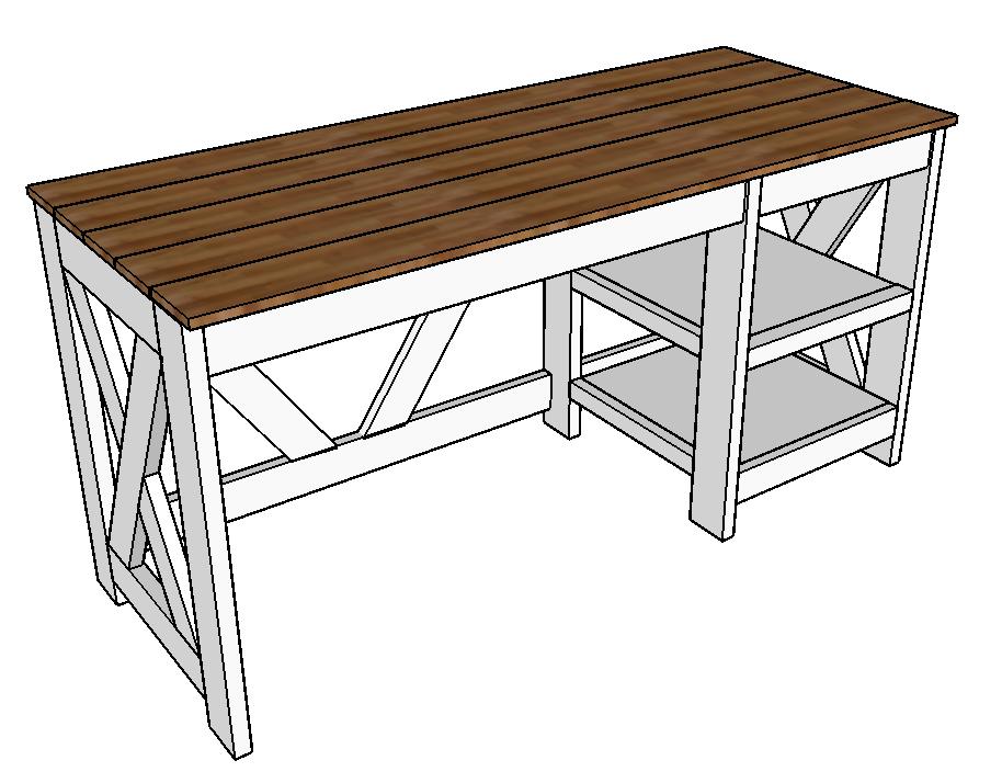 Farmhouse X Office Desk In 2020 Woodworking Furniture Plans Woodworking Desk Plans Desk Furniture Plans