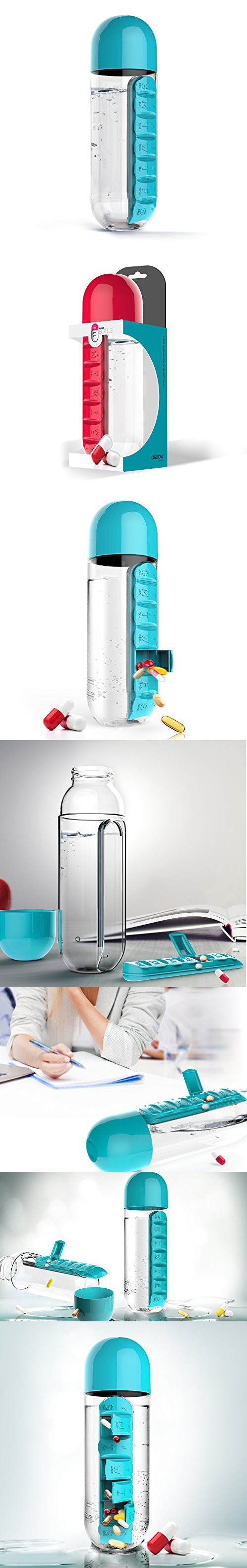 Asobu PB55-9333 Water Bottle with Built-in Daily Pill Box Organizer ...