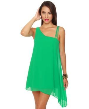 Pretty Green Dress - Shift Dress - Flowy Dress - $35.50