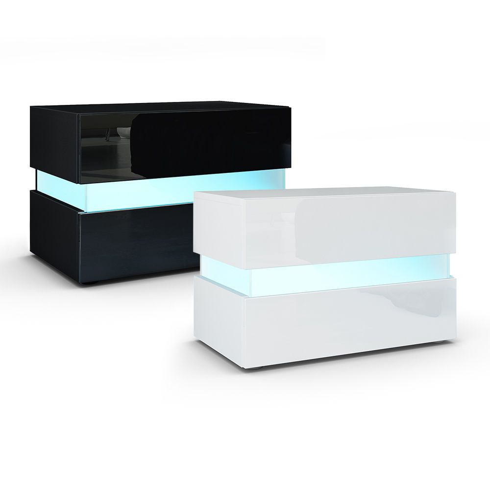 "High Gloss Modern Nightstand Bedside Table /""Flow/"""