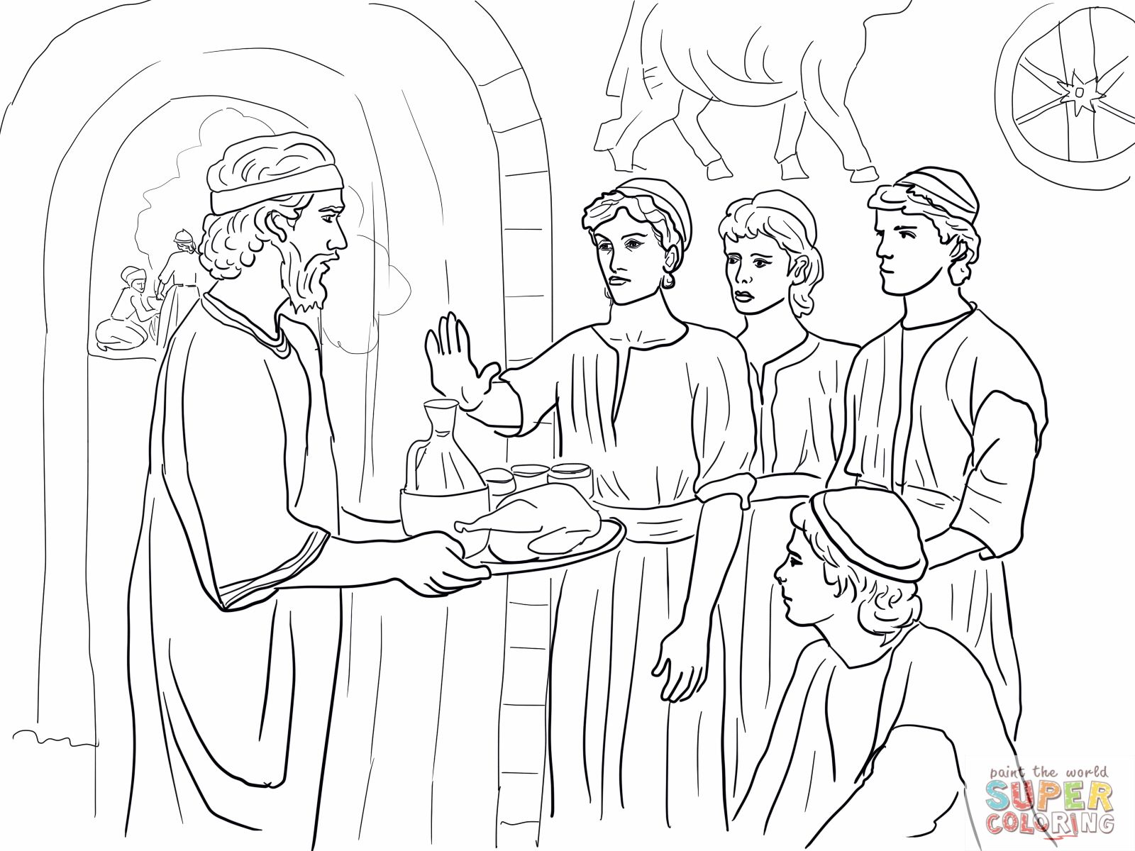 Daniel Chapter 1 Food Coloring Pages Bible Coloring Daniel