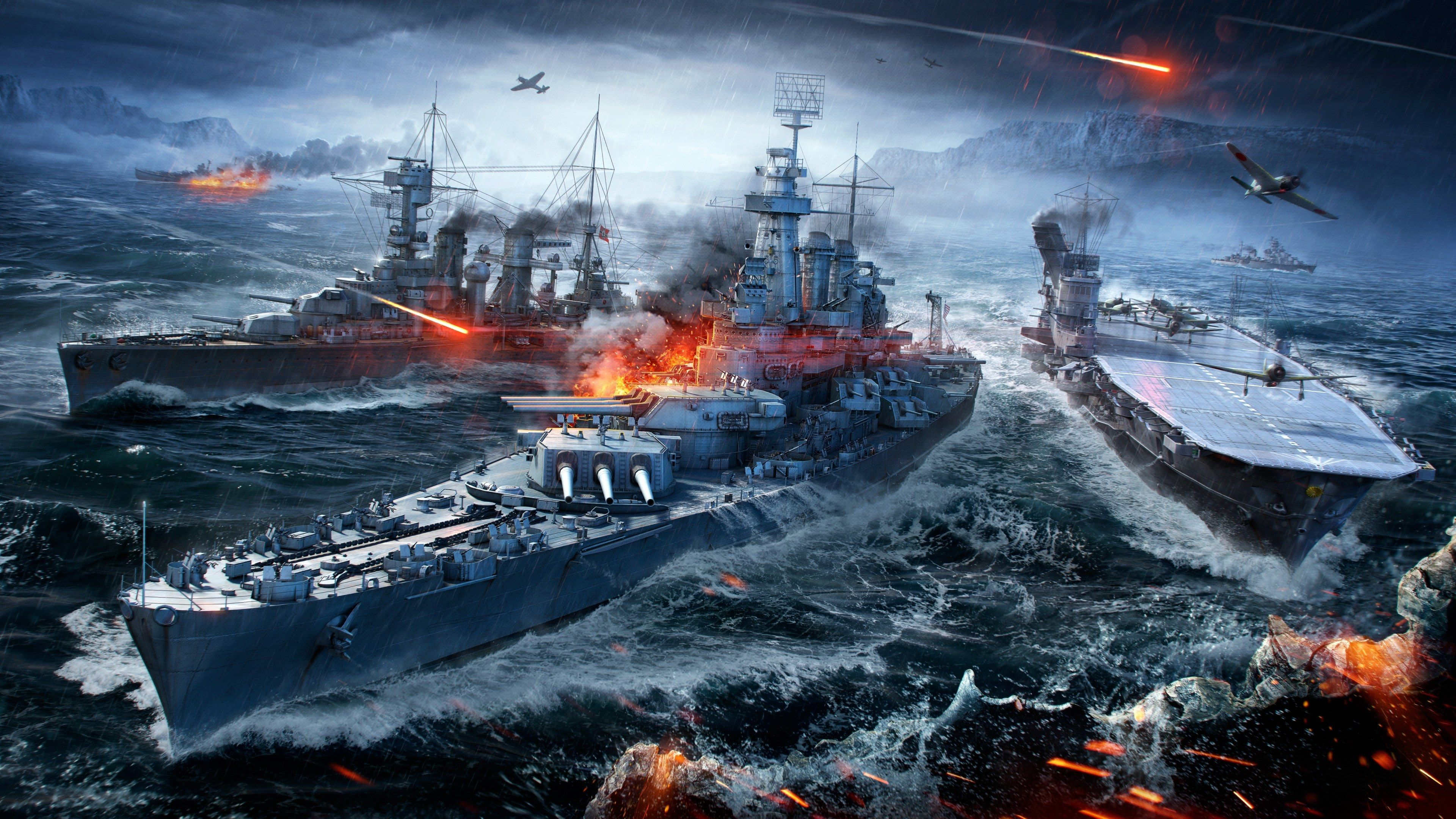 3840x2160 World Of Warships 4k Hi Def Wallpapers In 2020 World Of Warships Wallpaper Warship Battleship
