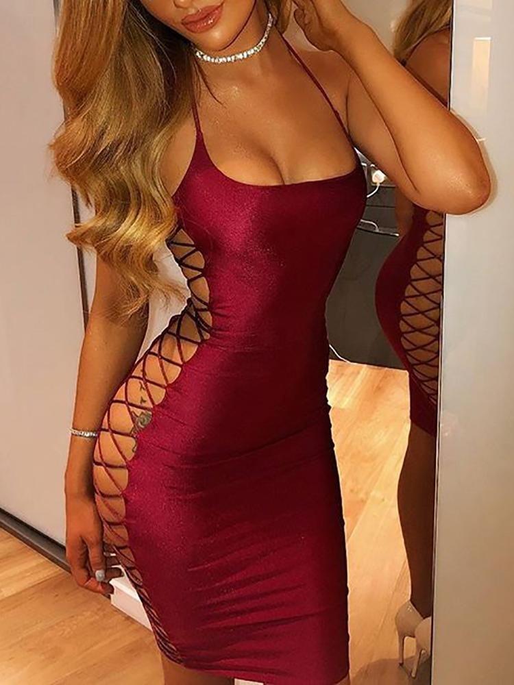 bbc64d872a Sexy Side Lace-up Bodycon Mini Dress