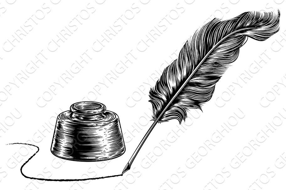 Writing Quill Feather Pen And Feather Pen Feather Sketch Chalk Markers Art