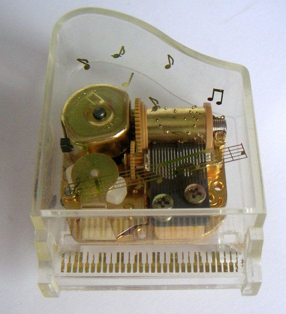 Sammlerobjekte Vintage Lucite Piano Music Box Plays Memories