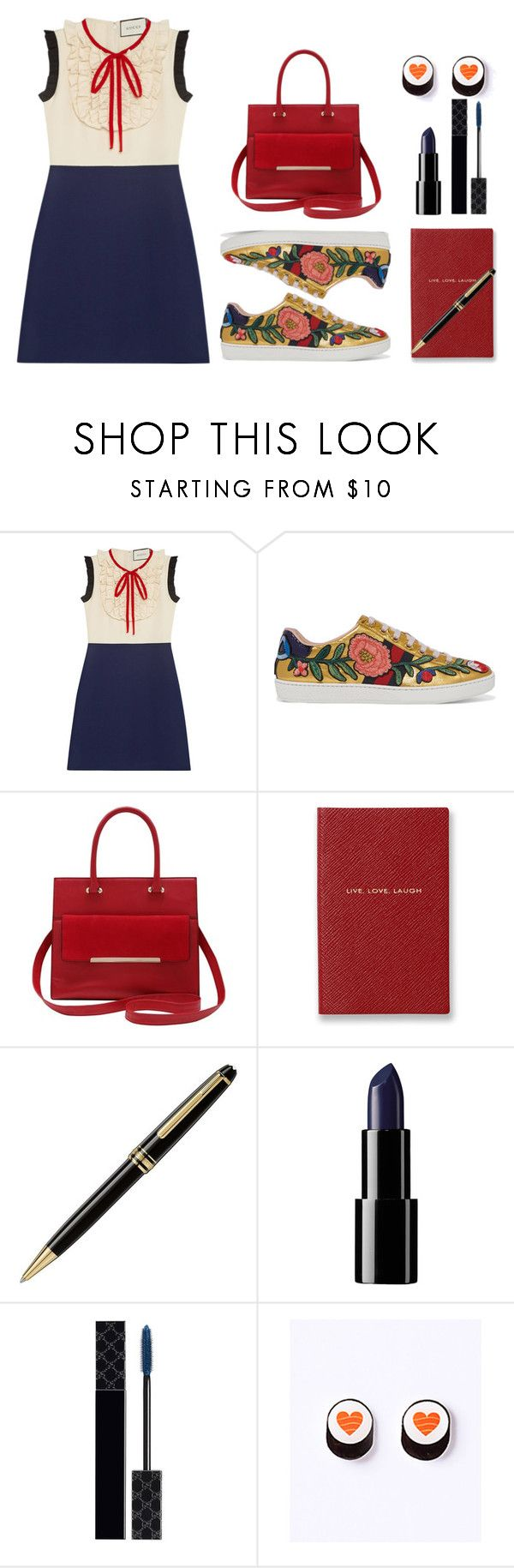 """gucci"" by art-gives-me-life ❤ liked on Polyvore featuring Gucci, M&Co, Smythson, Montblanc, contestentry and totallytoday"