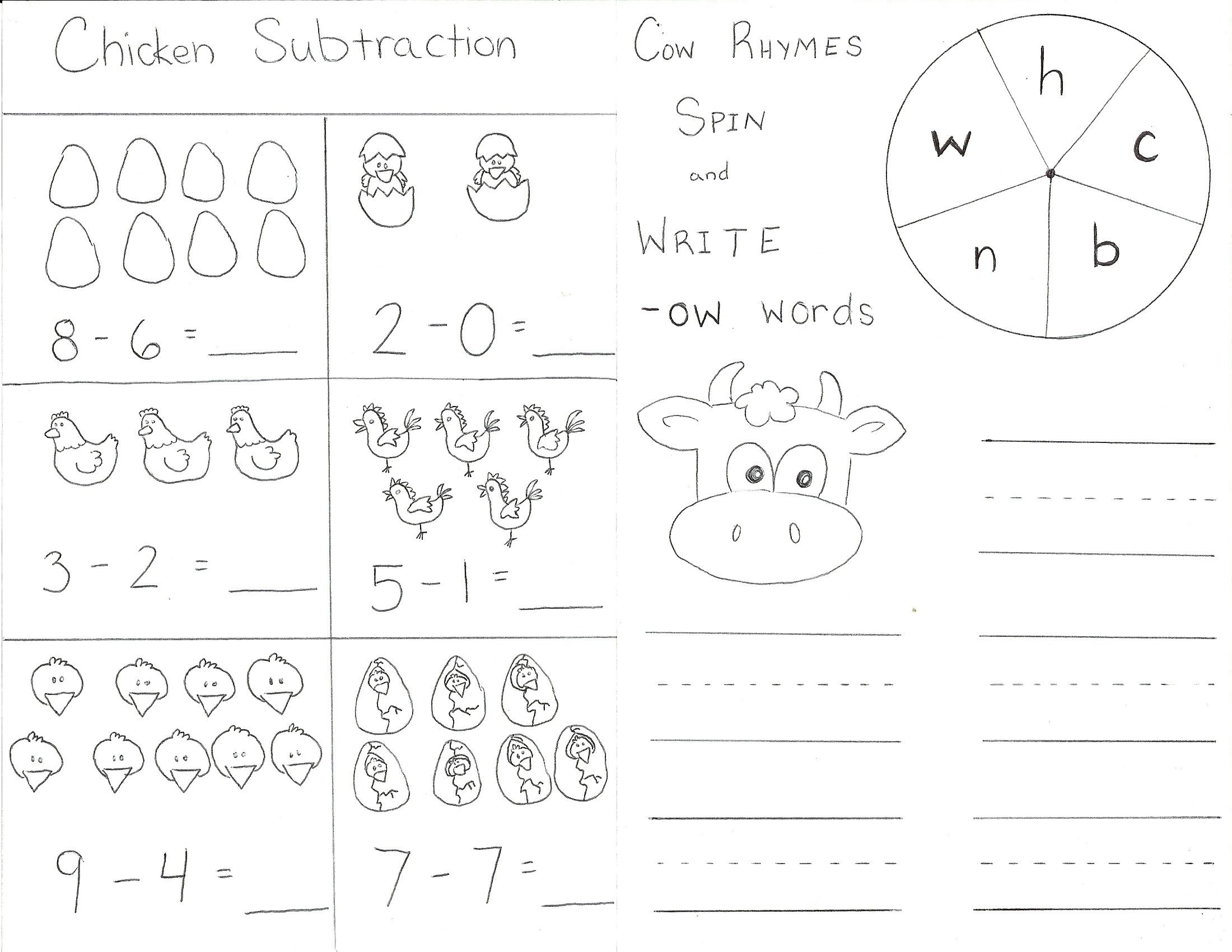 Cow And Chicken Worksheet 1