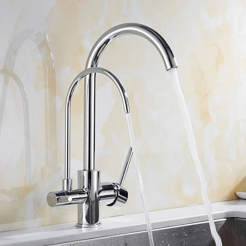 100% Brass Black Mixer Swivel Drinking Water Faucet 3 Way Water Filter Purifier Kitchen Faucets For Sinks Taps 9124S