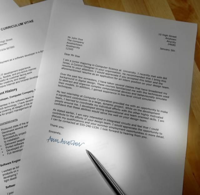 Sample Cover Letter Formats: Sample Formatted Cover Letter With A  Curriculum Vitae (CV)