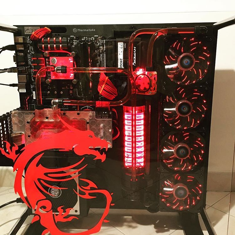 MSI build schwarz rot black and red thermaltake core p5
