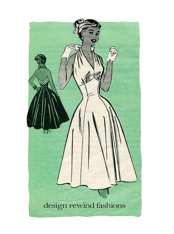 1950s SEXY HALTER DRESS Pattern Bombshell Cocktail Dress Rockabilly ...