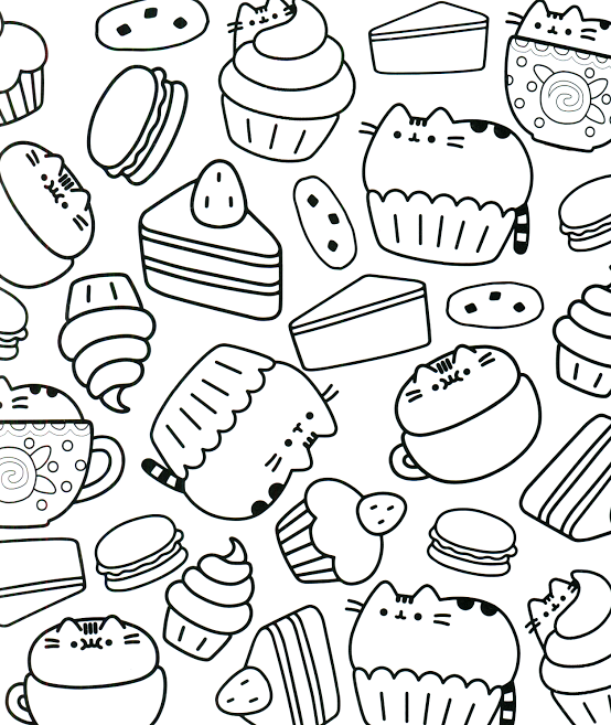 Coloring Pages Of Cat With Food Taken