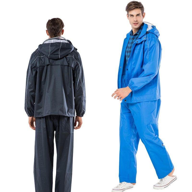 Yuding Fishing Suit Raincoat Polyester Rain Coat Man Rain Cover Navy Blue/Blue Color motorcycle Rainwear