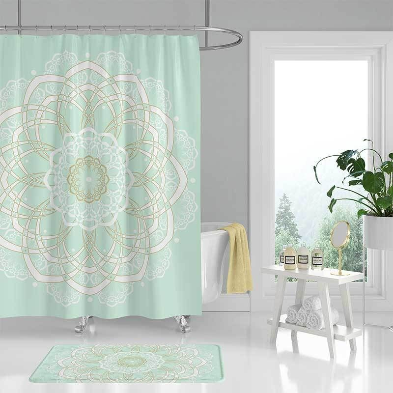 Mint Green Shower Curtain And Bath Mat With Mandala Design In 2019