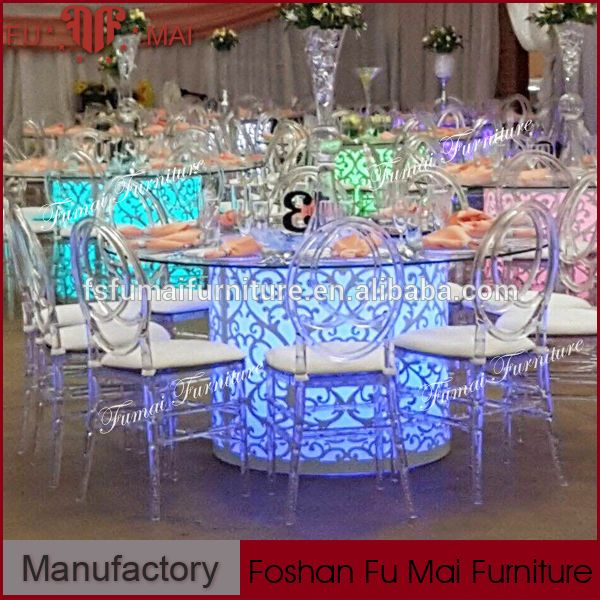 Led Modern Wedding Banquet Round Glass Dining Table 8 Seaters