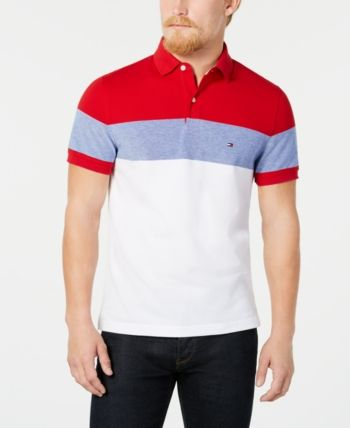 b944e006 Tommy Hilfiger Dylan Men's Custom Fit Striped Polo, Created for Macy's -  Red S