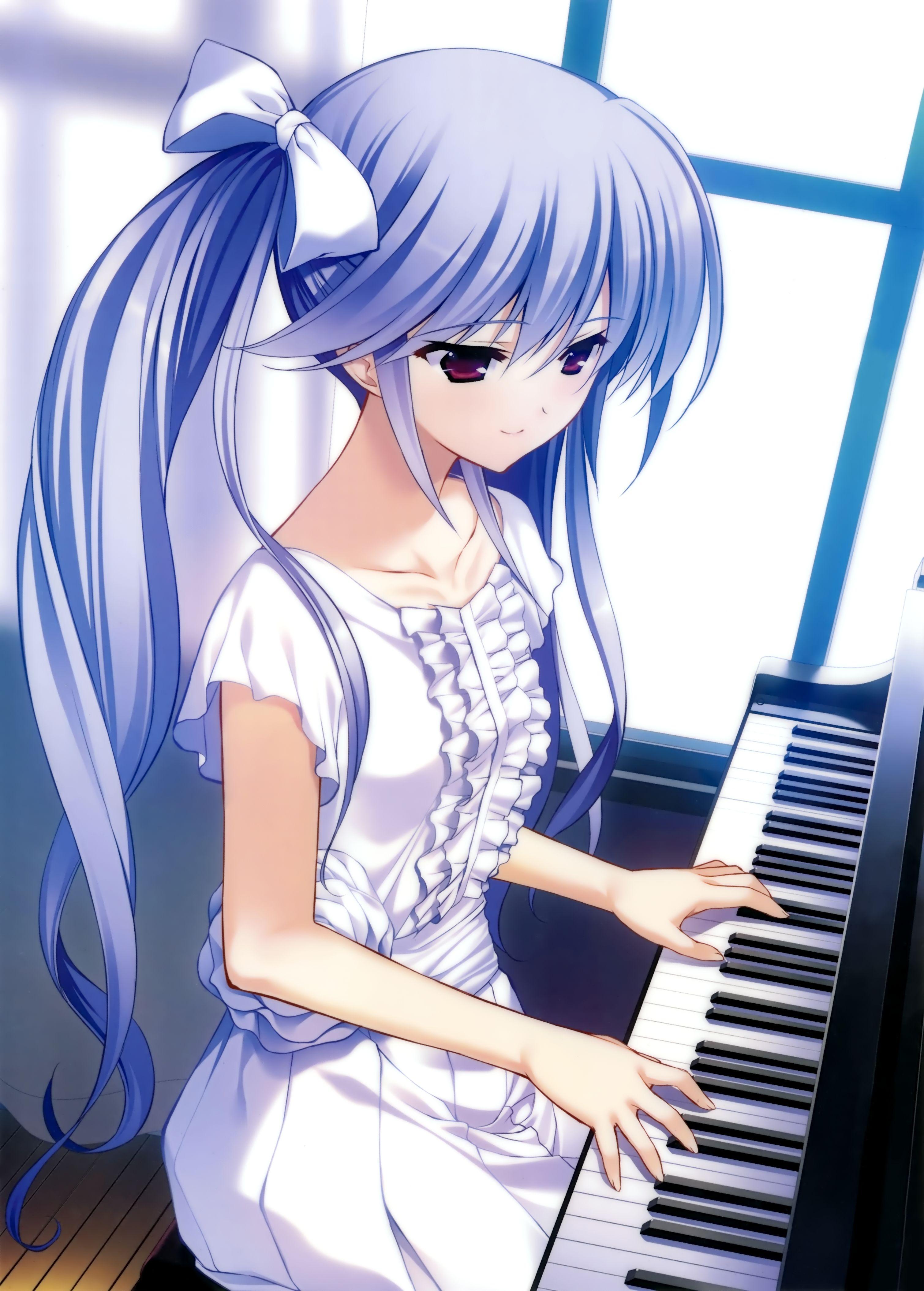 Anime Art Music Musician Piano Pianist Blue Hair Dress Lace Hair Bow Long Hair Ponytail Anime Devushka Anime Muzyka