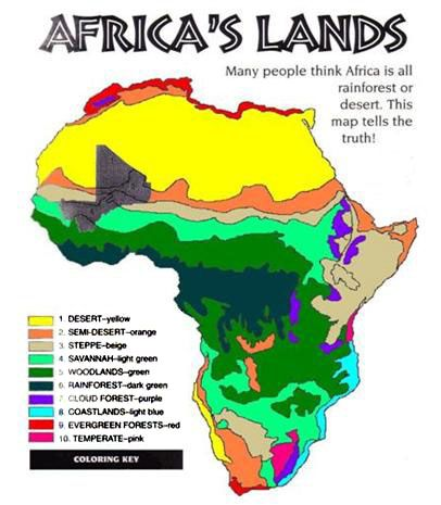 Map Of Africa Vegetation.Map Of Climate Of Africa Showing Land Forms And Vegetation Types
