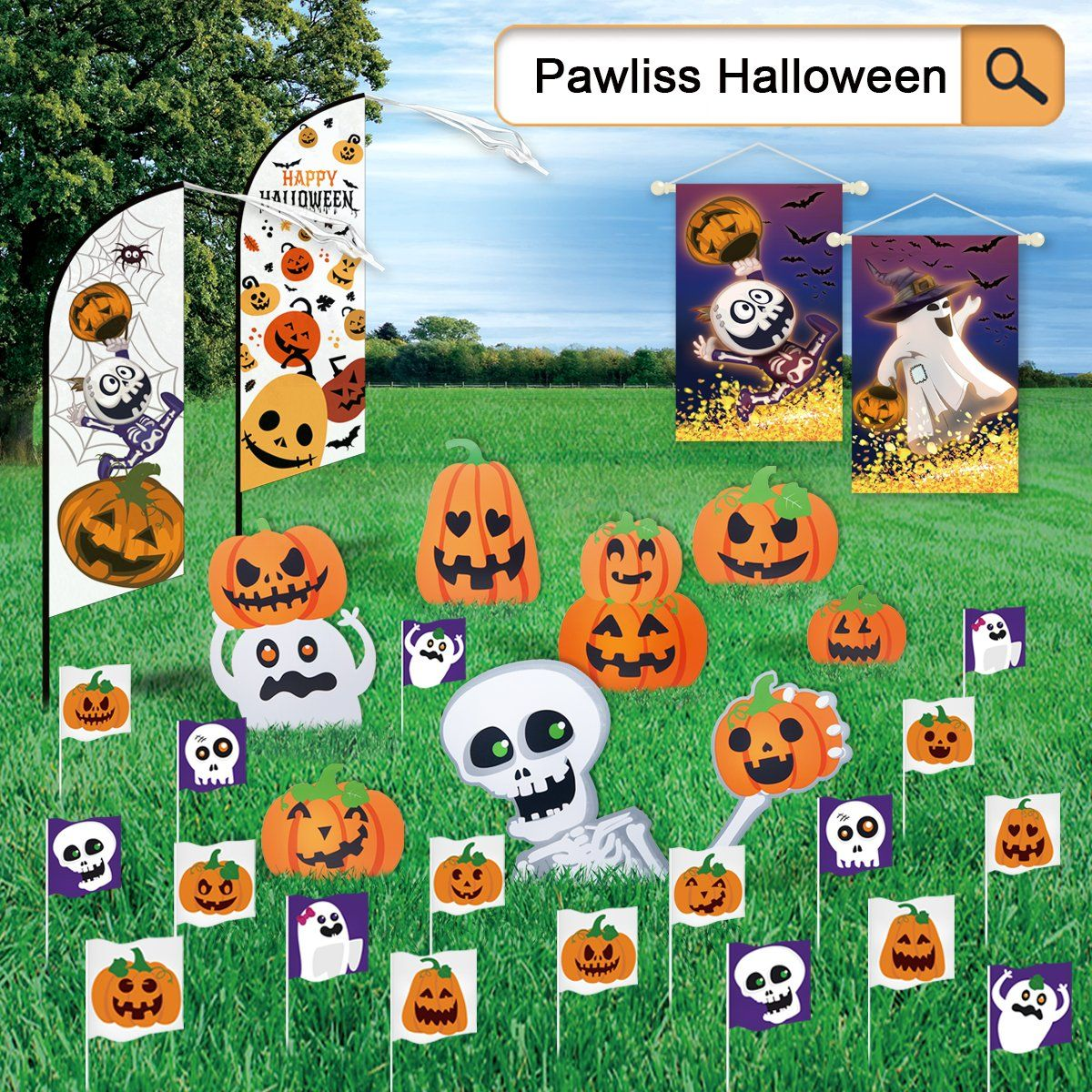Pawliss Halloween Decorations Outdoor Extra Large 8ct Pumpkins Skeleton And Ghost Corrugate Yard Halloween Outdoor Decorations Halloween Decorations Halloween