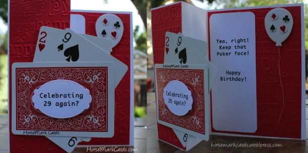 Birthday Card Made With Playing Cards Celebrating 29th Funny For Adult HorseMark