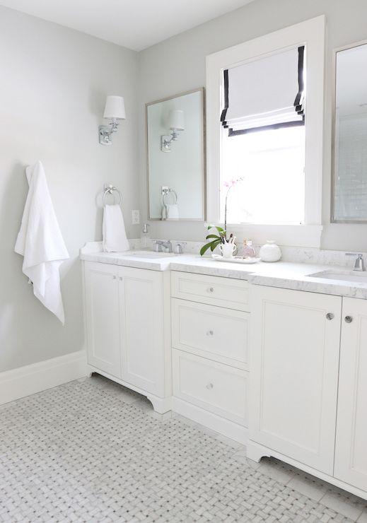 Gray Basketweave Floor Tile Transitional Bathroom Benjamin Moore Moonshine Paint It