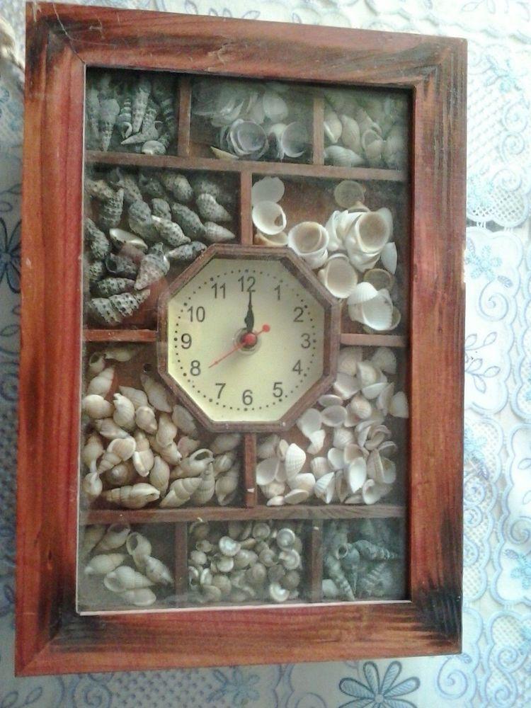 Wood Wall Clock Watch With Real Sea Shells Clock Sea