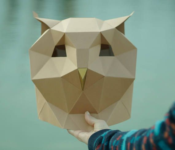 Owl Mask,DIY Head,Instant Pdf download,Bird mask,Paper Mask - paper face mask template