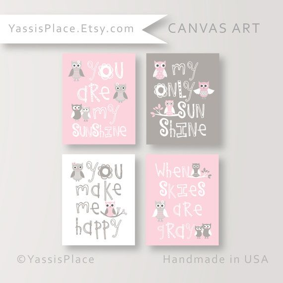 Girl nursery canvas art pink wall decor you are my sunshine pink and gray owl decor baby gift yassisplace blai 001