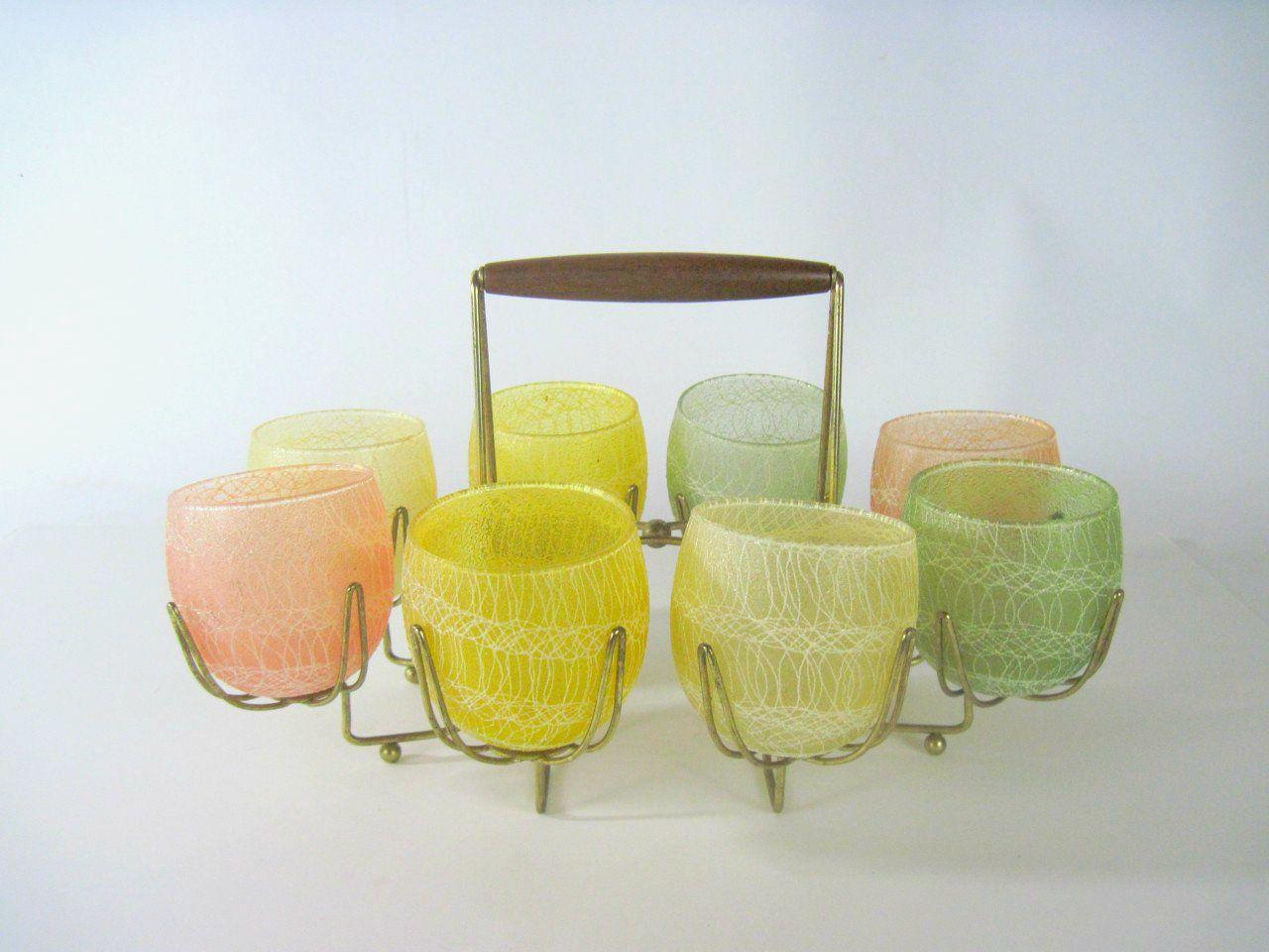 Fun Mid Century Modern glassware. Spaghetti glass set with