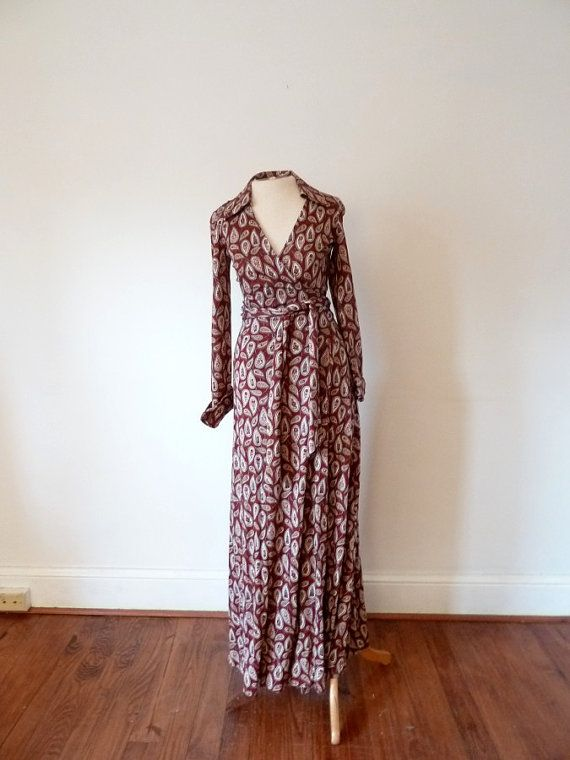 70s Diane Von Furstenberg paisley wrap maxi dress