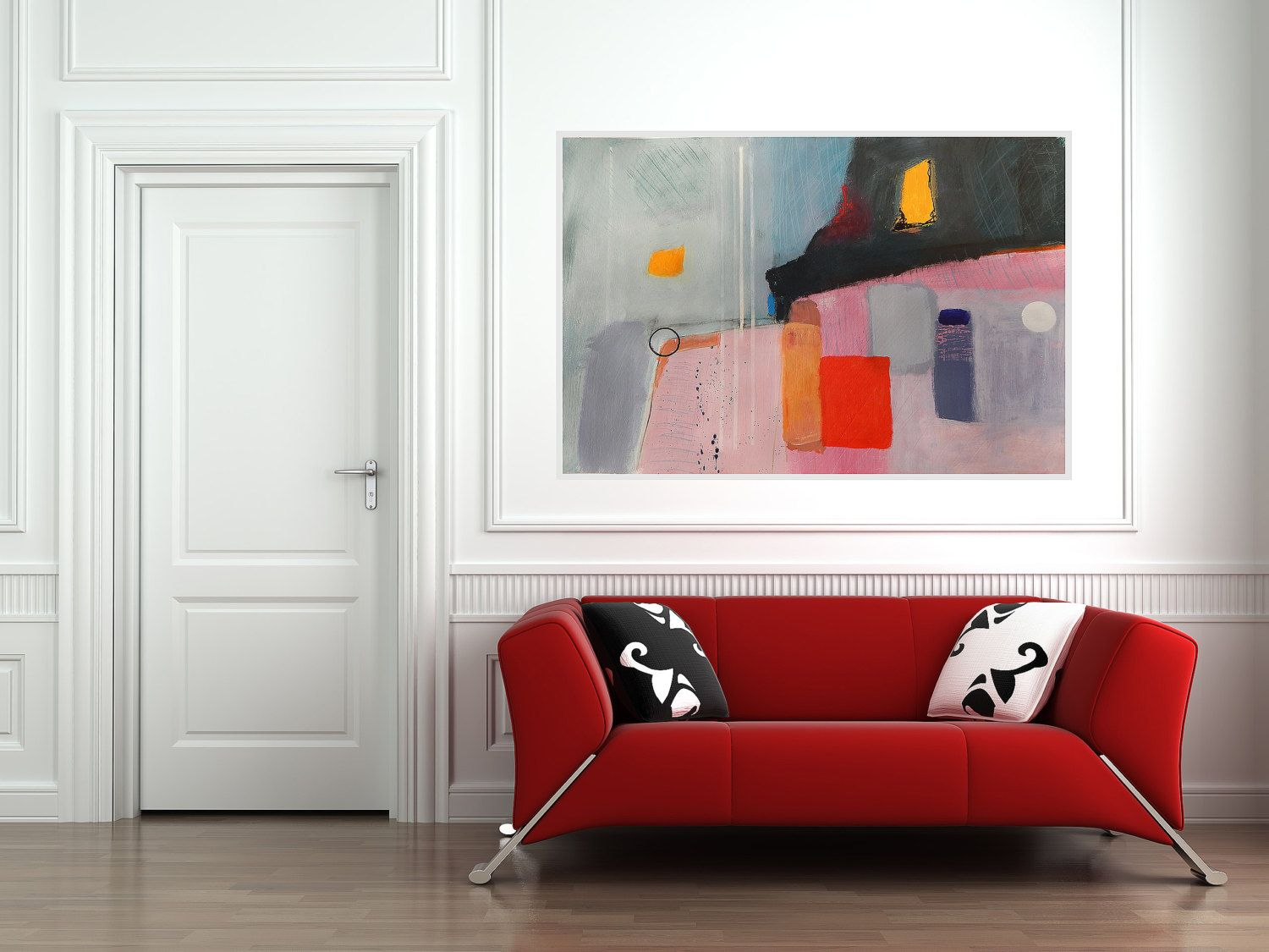 Wall art 100 x 70 - Modern Big Artwork Red Pink Black Grey Purple White Abstract Art Large Painting Contemporary Colorful Modern