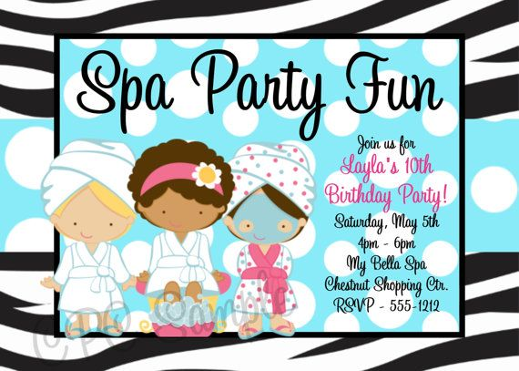 Spa party birthday invitation spa invitations printable or printed cutie patootie creationss vendor listing spa party invitationsprintable invitationsbirthday filmwisefo Image collections