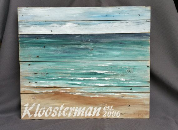 Personalized Pallet Beach Wall Art Upcycled Reclaimd Beach Hand