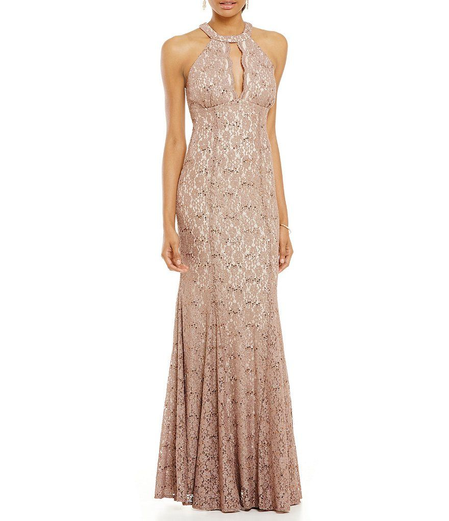 Rum richards halter glitter lace aline gown mother of the bride