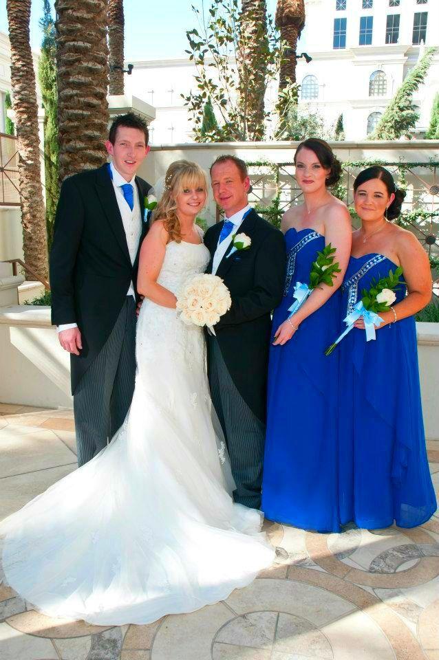 Blue Bridesmaids at my brothers wedding at Caesars Palace
