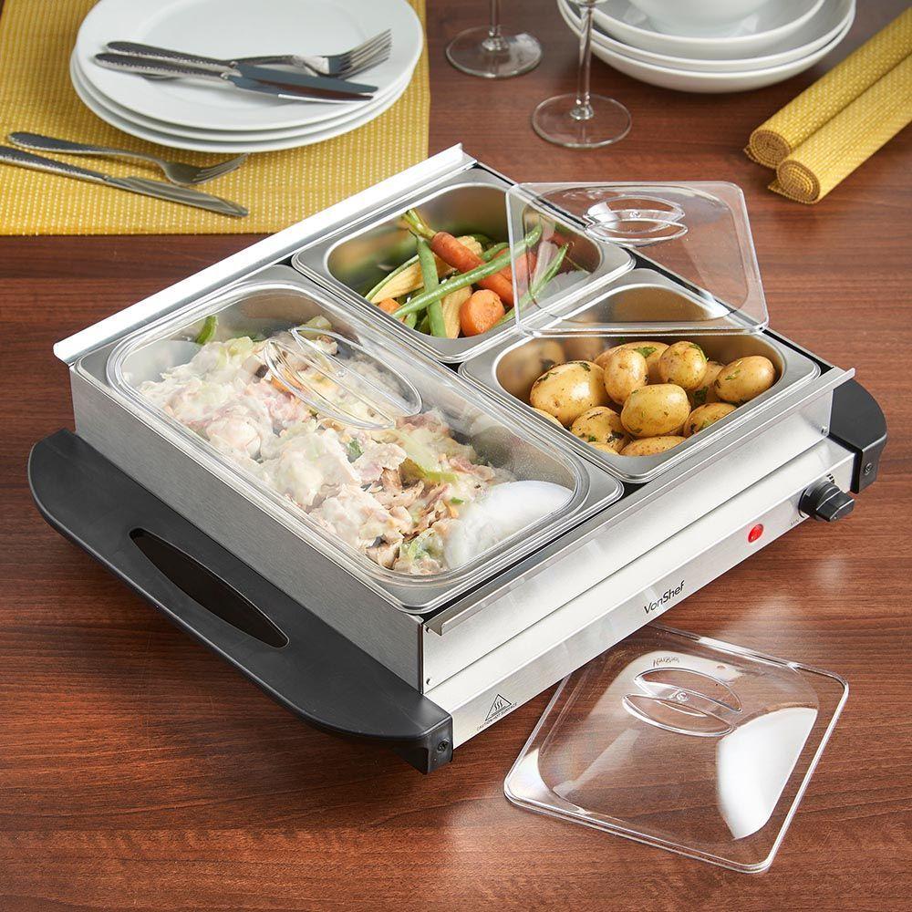 3 pan buffet server 200w vonshef food food warmer
