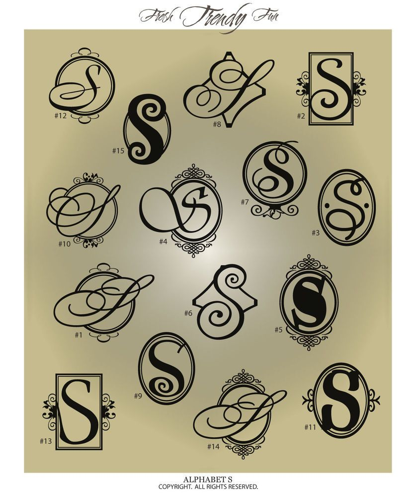 Fancy Monogram Letter S Vinyl Wall Decal Sticker Alphabet Home Decor Monogram Letter S Monogram Letters Fancy Letter S