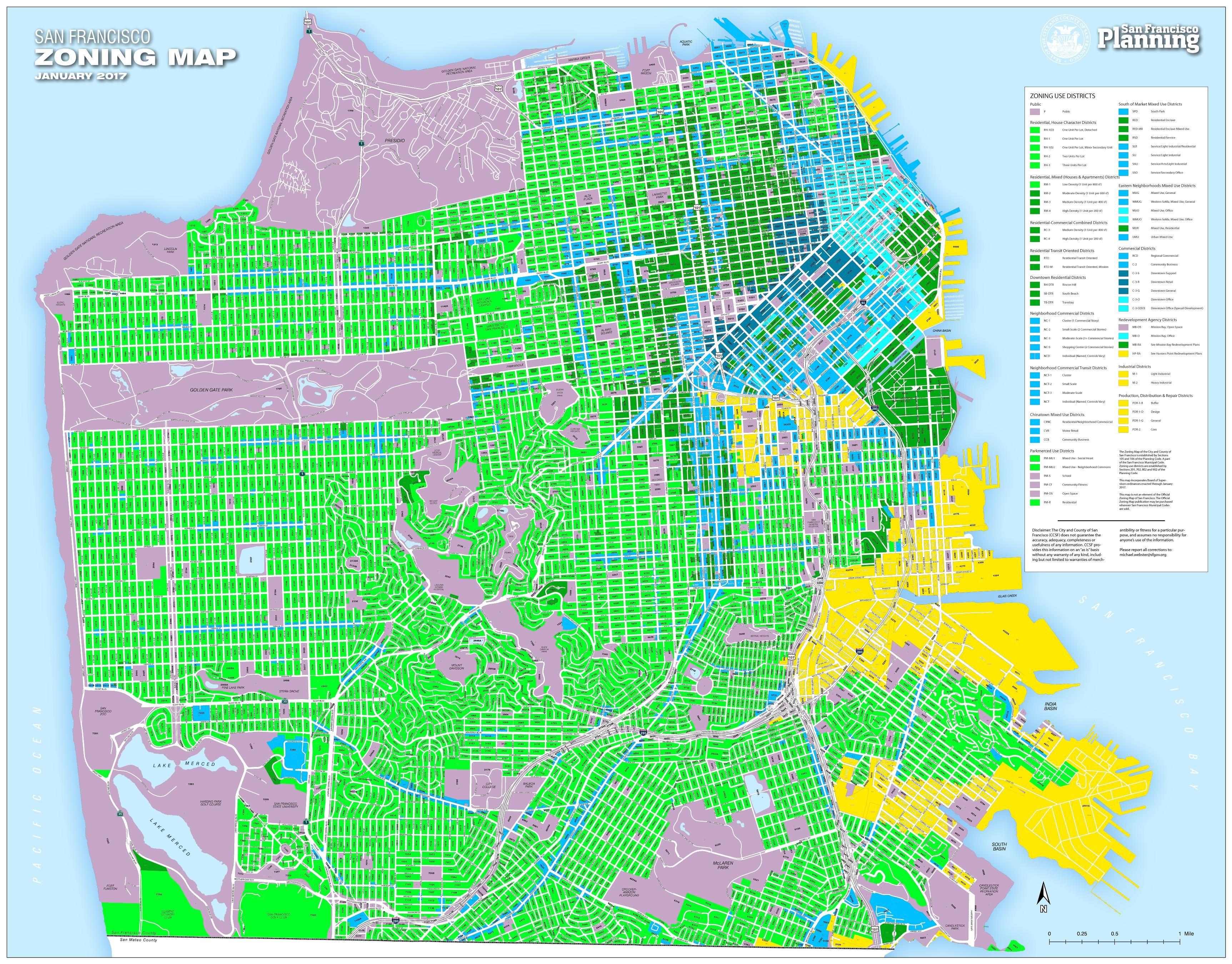 San Francisco Zoning Map January 2017 Vivid Maps Map San Francisco Map Map Globe