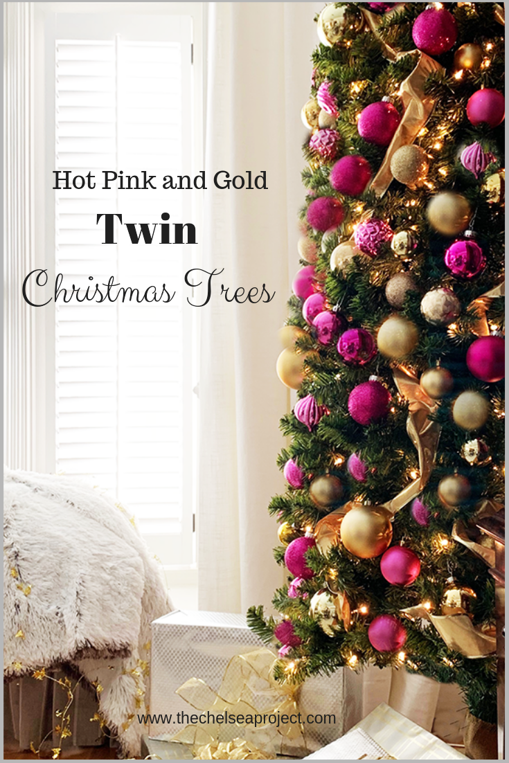 Hot Pink And Gold Christmas Trees The Chelsea Project Pink Christmas Tree Decorations Gold Christmas Tree Pink Christmas Decorations