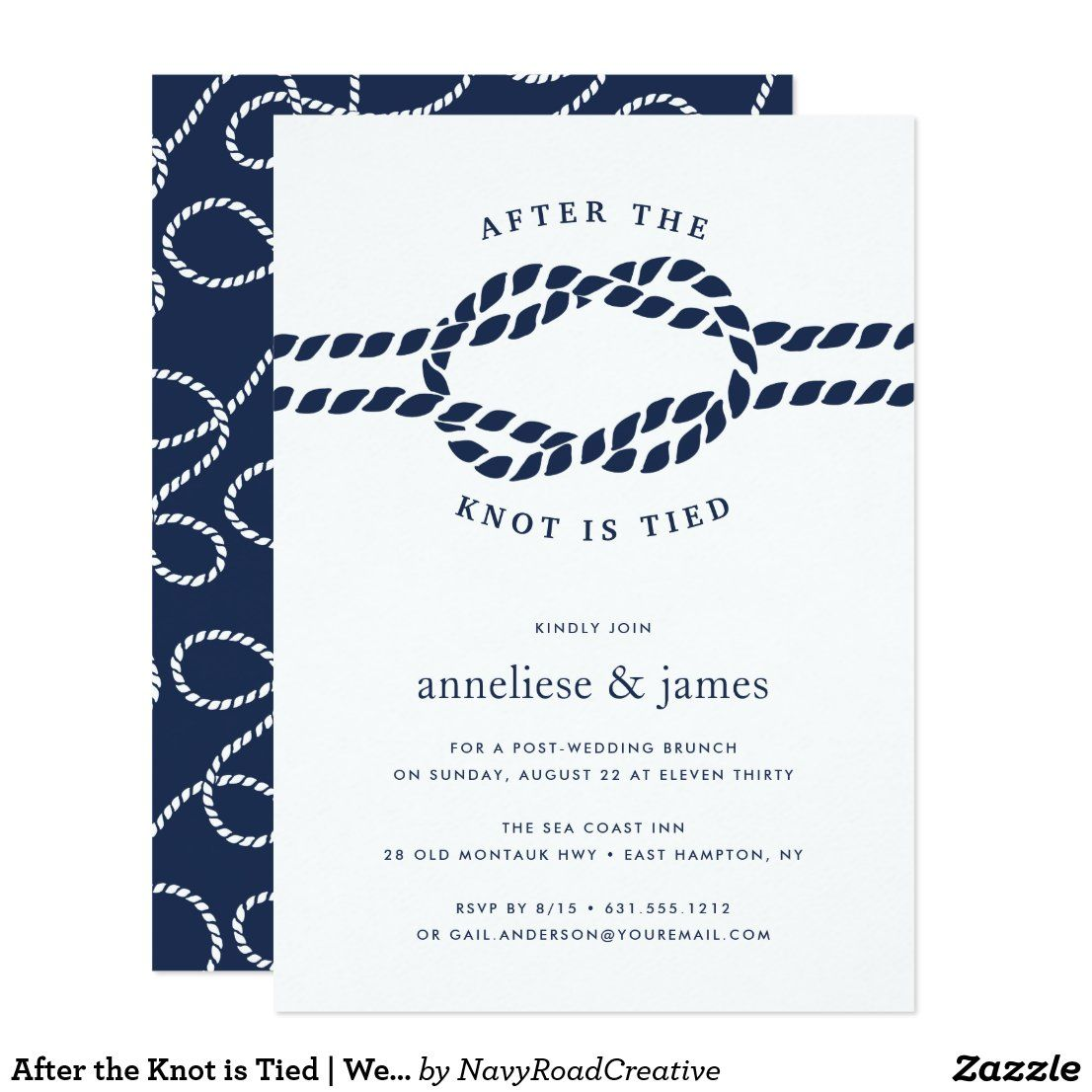 After The Knot Is Tied Wedding Brunch Invitation Zazzle Com In 2020 Wedding Brunch Invitations Brunch Invitations Brunch Wedding