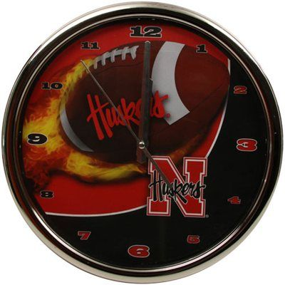 Nebraska Cornhuskers Flame Chrome Clock